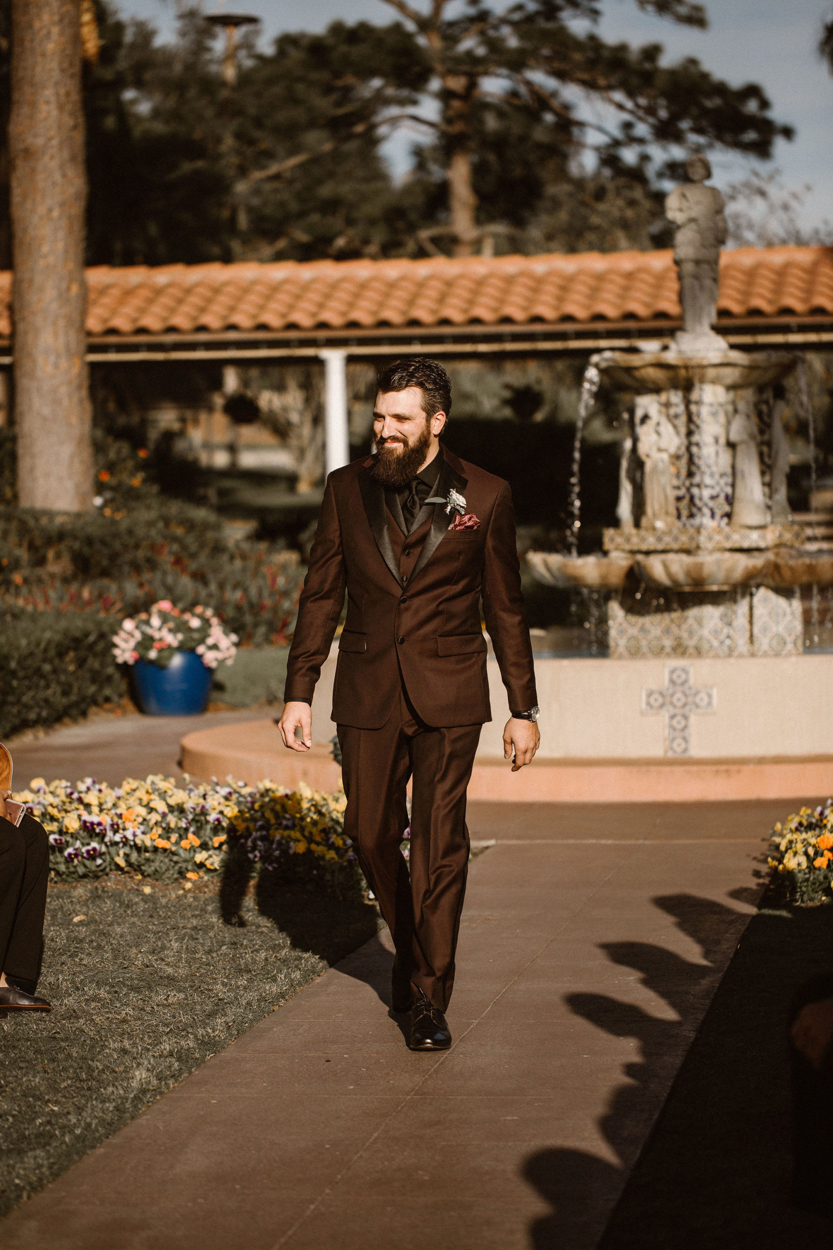 groom walking down the aisle at mission inn resort
