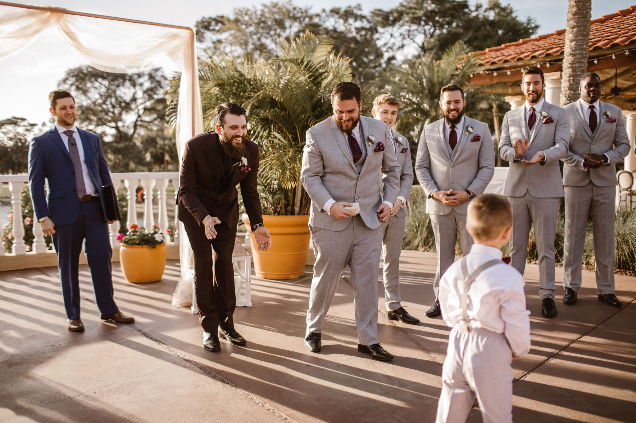 Groomsmen ready for ceremony start