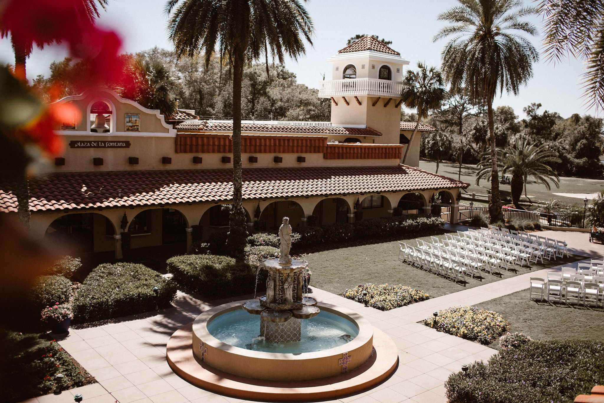 Mission Inn Resort Plaza de la Fontana Romantic Mauve Wedding Ceremony