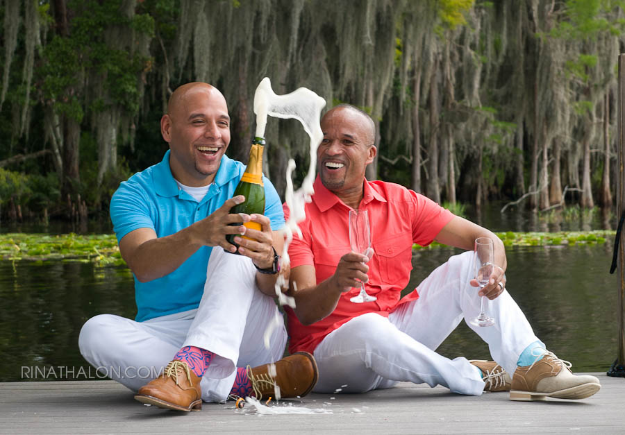 Two Men Sitting and Drinking Champagne