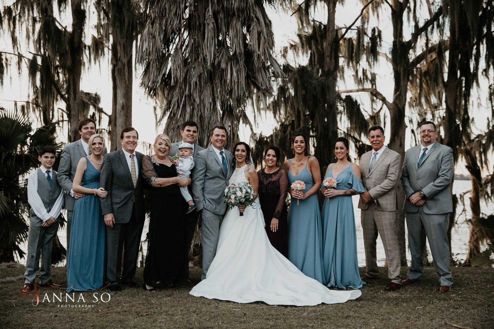 Smiling Family at the Old Florida Marina Wedding